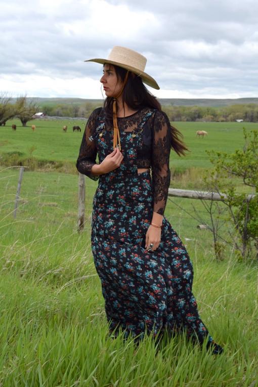 Floral pinafore prairie dress handmade