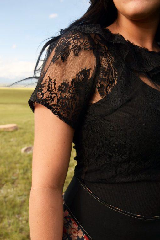 Black Lace Crop Top Handmade