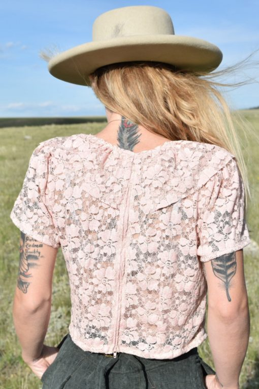 Crop Top Blush Pink Vintage Lace