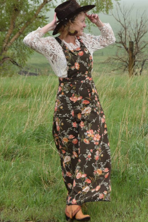 long floral prairie pinafore