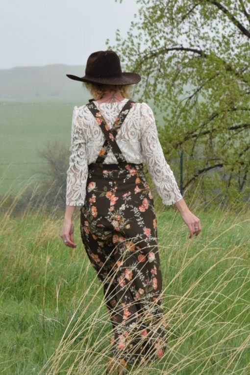 long floral pinafore