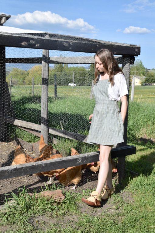 vintage blue prairie pinafore apron dress
