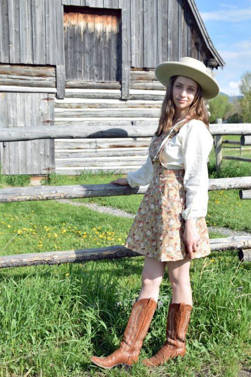 vintage floral pinafore prairie apron