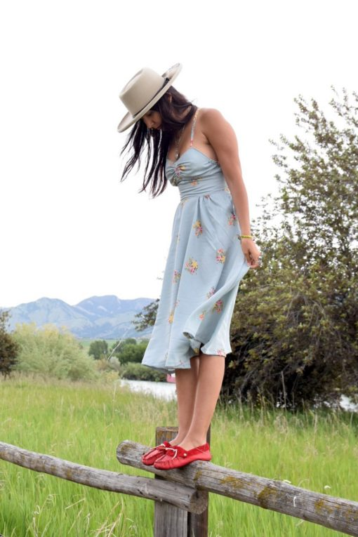 Vintage Blue Floral Prairie Dress Handmade