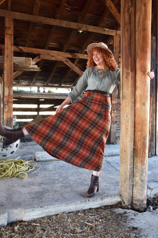 plaid wool skirt made in USA