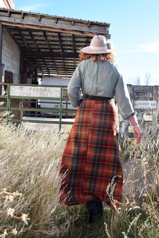long wool plaid skirt