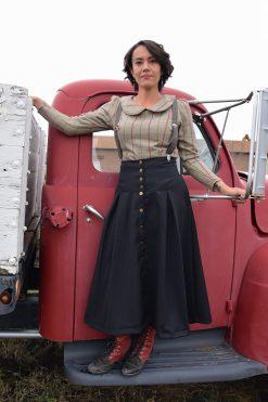 black wool prairie skirt