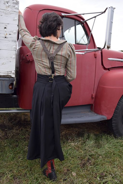 black wool prairie skirt