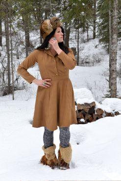 Vintage style long sleeve shirt dress