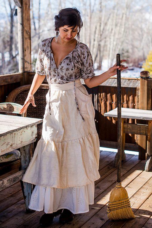 Ivory linen homestead apron