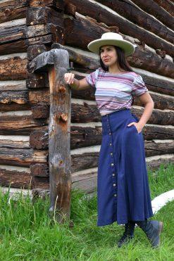 navy linen homestead prairie skirt