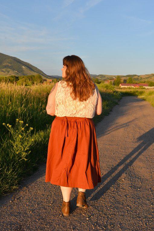 modern vintage linen skirt