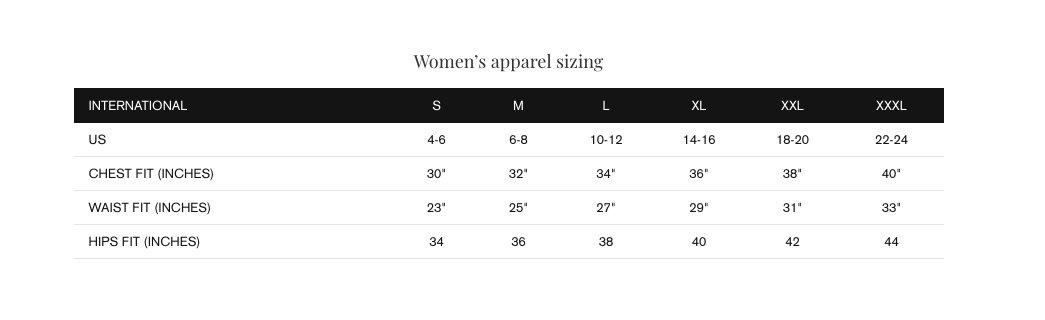bathing suit measurement chart