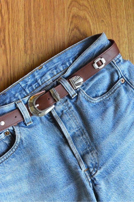 Leather western santa fe belt