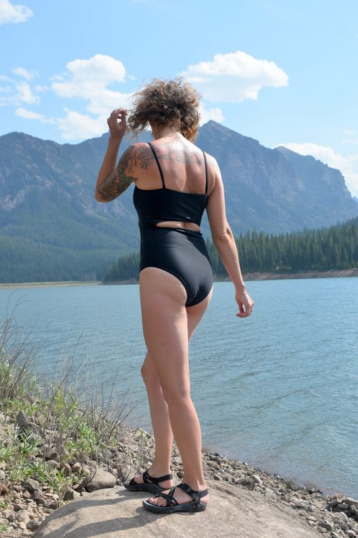 sustainable black one piece bathing suit